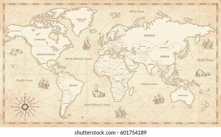 Vintage world map images stock photos vectors shutterstock great detail illustration of the world map in vintage style with all countries boundaries and names gumiabroncs Images