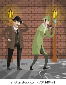 great detective sherlock holmes and sidekick watson in crime alley