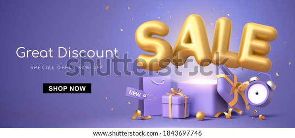 Great discount banner design with 3d rendering golden SALE balloon phrase on purple background with gift box, shopping bag and alarm clock elements