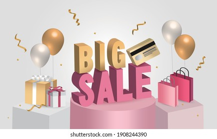 Great discount sale banner design in 3d illustration on gray background, sale word balloon on podium with credit card, shopping bag and gift design elements. scene 3d for show products.
