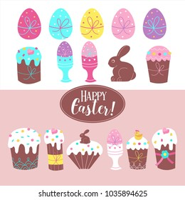 Great Easter clipart set. Colorful painted eggs, a chocolate Bunny, Easter cakes with colorful icing.