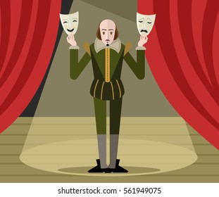 great english playwright with theater masks on stage