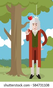 great english scientist with apple under a tree