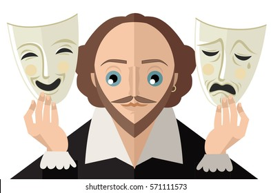 great english theater drama tragedy poet and playwright holding sad and happy masks