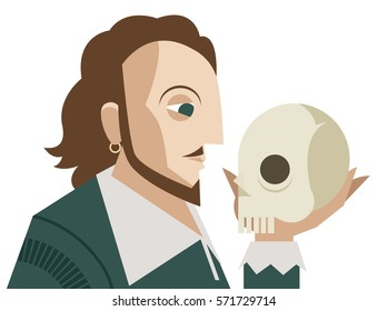 great english theater drama tragedy poet and playwright holding a skull