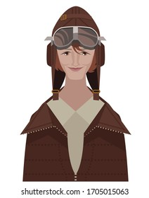 great first female aviator with glasses