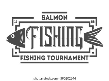 Great fishing tournament vintage isolated label vector illustration. Good catch symbol. Sport fishing club logo. Fish logo emblem vector on white background