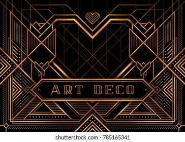 The Great Gatsby Deco Style vector, Golden Roses and Heart, Art Deco Vintage Frame Design, Wedding Invitation, invite card design, Abstract geometric patterned background.
