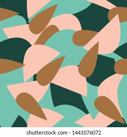 Great geometric abstract vector seamless art. This pattern would look great on fabric, packaging, and stationary. Colors  are Bronze (#a67242), Rosé (#ffc8b3), Forest (#1b463c), Spearmint (#75c2b0)