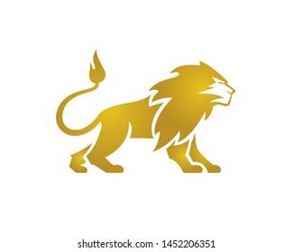Great Golden Lion Standing Vector