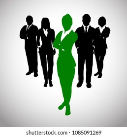 Great green Leader before a Team of Successful executives. A team of Successful executives led by a strong and effective female  leader as silhouettes.