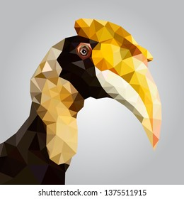 The great hornbill low polygon vector.