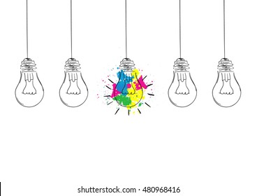 Great idea concept with colorful light bulb