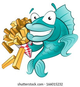 Great illustration of a Cute Cartoon Fish with a Portion of Chips.
