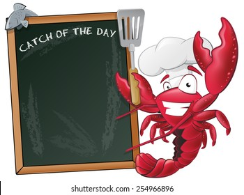 Great illustration of a happy lobster chef waving his Spatula next to a chalkboard.