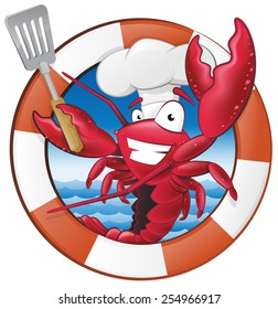 Great illustration of a happy lobster Chef holding a Spatula in Nautical Themed Frame ready to cook some delicious seafood.