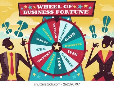 Grande illustration de rivaux d'affaires de style Retro jouant leur avenir financier sur la grande roue en rotation du Business Fortune espérant gagner la première place dans le monde des affaires.