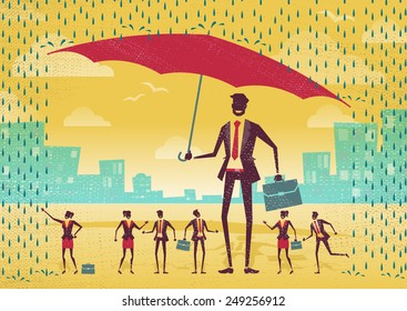 Great illustration of Retro Styled Businessman who is helping his team to stay dry under his huge umbrella.