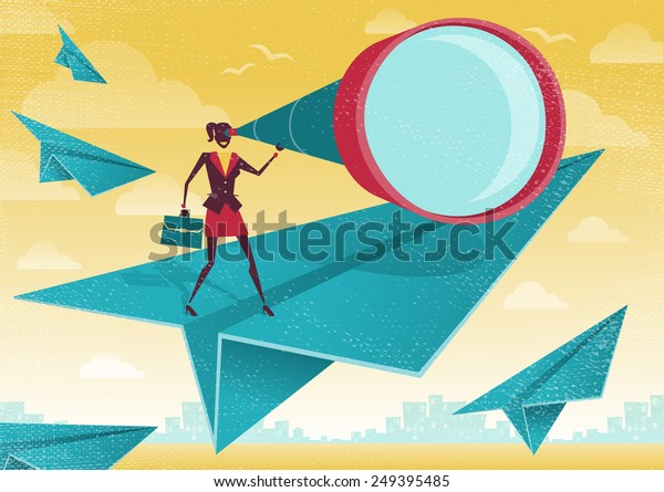 Great illustration of Retro Styled Businesswoman who is scanning the business landscape with her powerful telescope.
