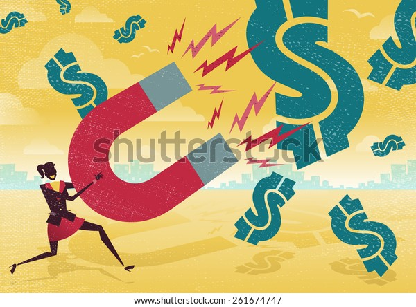Great illustration of Retro styled Businesswoman catching all the money with his giant cash catching Magnet.
