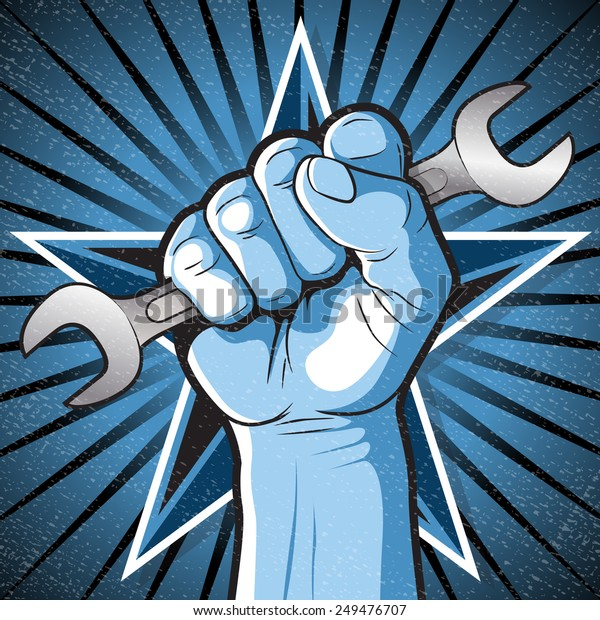 Great illustration of Russian Propaganda style punching Fist holding a Spanner symbolising Workers Rights.