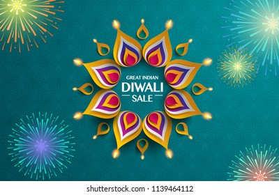 Great indian Diwali festival big sale. Background with paper graphic of indian Rangoli and fireworks.