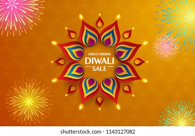 Great Indian Diwali festival big sale. Background with the paper graphic of Indian Rangoli and fireworks.