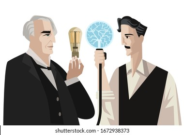 great inventors with a light bulbs