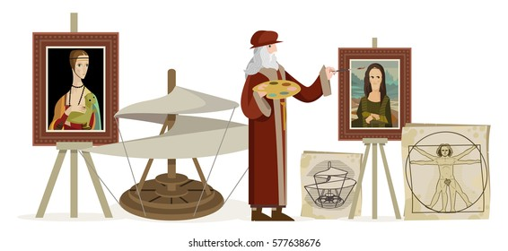 great italian renaissance genius painting with paintbrush a woman portrait on his atelier flying machine helicopter and human body sketch