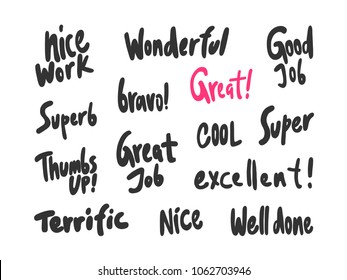 Great job good super bravo. Stickers set for social media post. Vector hand drawn illustration design. Bubble pop art comic doodle cartoon style t shirt print, card invitation, blogging, video cover