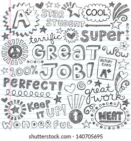 Great Job Super Student Praise Hand Lettering Phrases Back to School Sketchy Notebook Doodles- Hand-Drawn Illustration Design Elements on Lined Sketchbook Paper Background