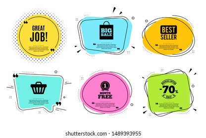 Great job symbol. Best seller, quote text. Recruitment agency sign. Hire employees. Quotation bubble. Banner badge, texting quote boxes. Great job text. Coupon offer. Vector