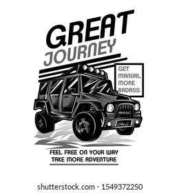 Great Journey Black and White Illustration