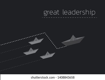 Great leadership concept illustration with folded paper boat.