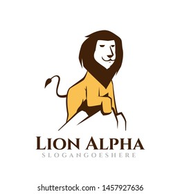 Great Lion Alpha Standing on Cliff Logo Template
