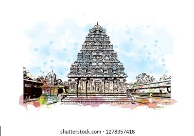 The Great Living Chola Temples is a UNESCO World Heritage Site designation for a group of Chola dynasty era Hindu temples in the Indian state of Tamil Nadu. Hand drawn sketch illustration in vector.