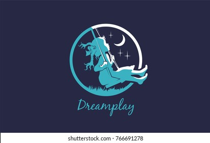A great logo on the theme of childhood or a innocent children game. Symbol for children dreaming lust. On the playground.