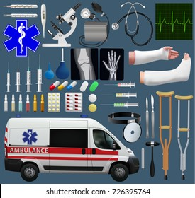 Great medical set. Wide variety of subjects, tools, medicines, ambulance, diagnostics and treatment. Realistic images. Vector illustration.