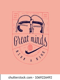 great minds ride a bike - vintage bicycle print with steering bars and a brain