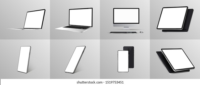 Great minimalist 3D gadgets set. Mockups at different angles.  Devices - Smartphone, tablet, laptop and pc. Devices collection Mockups generic gadget. Mockups perspective and isometric view. Vector