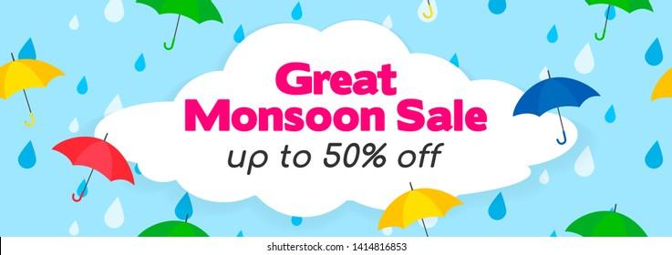 Great Monsoon Sale Banner Vector Illustration. Umbrellas on rain drops background.