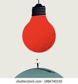 Great new idea, innovation, heureka, breakthrough moment vector concept. Big lightbulb over businessman. Eps10 illustration.