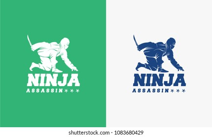 Great Ninja Assassin logo designs concept, Ninja Assassin Hold Sword logo template