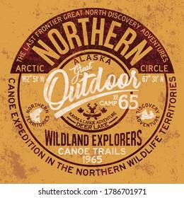 The great outdoor Alaska canoe adventure grunge vector print for boy vintage t shirt