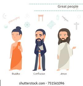 Great people set - Buddha, Confucius, Jesus