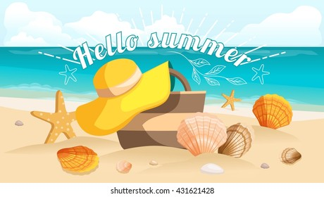 Great postcard, beautiful landscape, sea beach, beach bag, beach hat, seashells, pebbles. Sunburst text Hello summer. Vector illustration
