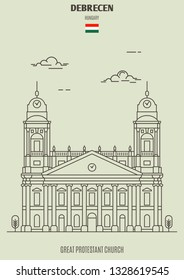 Great Protestant Church in Debrecen, Hungary. Landmark icon in linear style