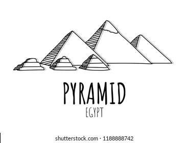 Great Pyramid of Giza hand drawn illustration vector on isolate background,landmark of Egypt