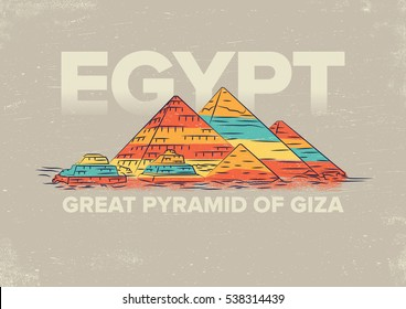 Great Pyramid of Giza Vector Illustration. World famous landmark series in Retro Style. Egypt travel poster.