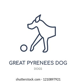 Great Pyrenees dog icon. Great Pyrenees dog linear symbol design from Dogs collection. Simple outline element vector illustration on white background.